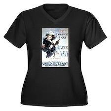 I Wish Navy Women's Plus Size V-Neck Dark T-Shirt