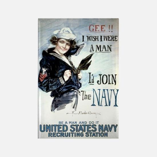 I Wish Navy Rectangle Magnet