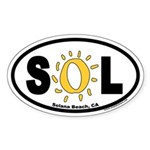 Solana Beach, CA Euro Oval Stickers with Yellow O