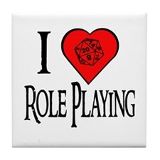 D20 I Heart Role Playing Tile Coaster