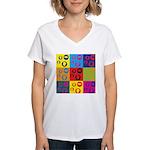 Coins Pop Art Women's V-Neck T-Shirt