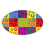 Coins Pop Art Oval Sticker