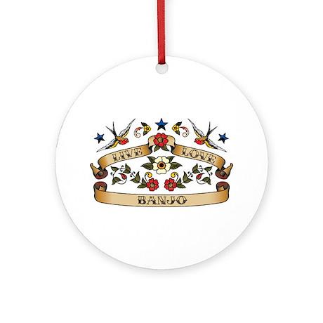 Live Love Banjo Ornament (Round)