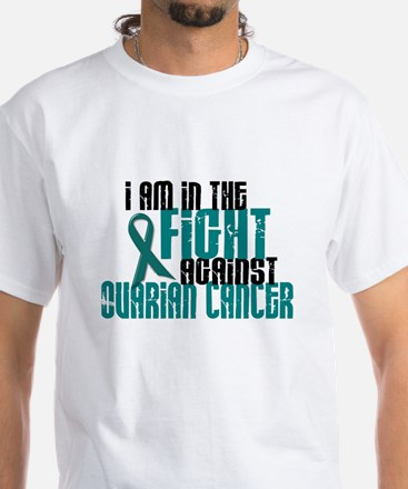 In The Fight Against Ovarian Cancer 1 White T-Shir