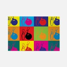 Bowling Pop Art Rectangle Magnet