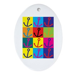 Boating Pop Art Oval Ornament