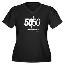 50/50 Women's Plus Size V-Neck Dark T-Shirt