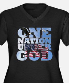 """One Nation Under God"" Women's Plus Size V-Neck Da"