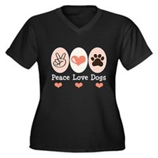 Peace Love Dogs Women's Plus Size V-Neck Dark T-Sh