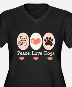 Peace Love Dogs Women's Plus Size V-Neck Dark T-Sh