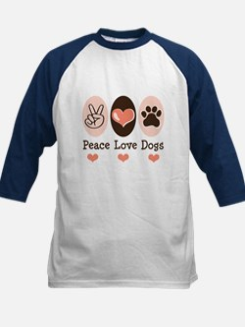 Peace Love Dogs Kids Baseball Jersey