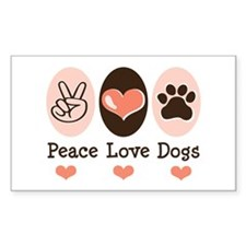 Peace Love Dogs Rectangle Decal
