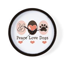 Peace Love Dogs Wall Clock