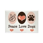 Peace Love Dogs Rectangle Magnet (100 pack)