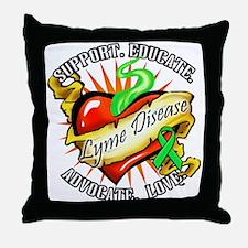 Lyme Disease Heart Tat Throw Pillow