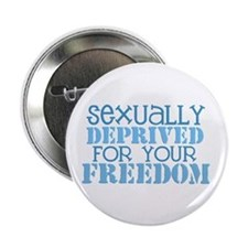 """Sexually Deprived - blue 2.25"""" Button"""
