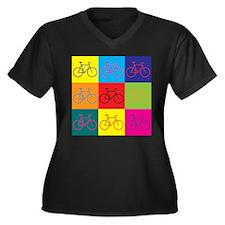 Bicycling Pop Art Women's Plus Size V-Neck Dark T-