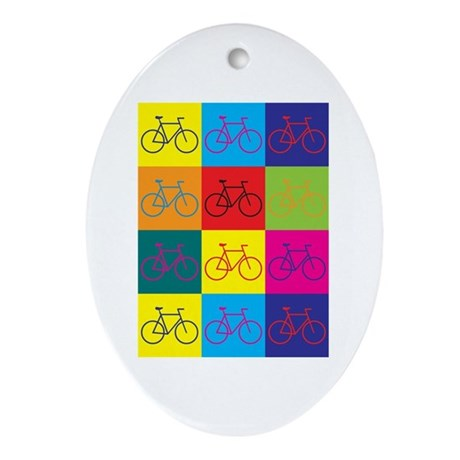 Bicycling Pop Art Oval Ornament
