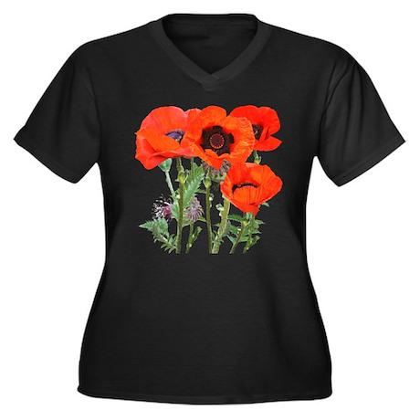 Red Poppies Women's Plus Size V-Neck Dark T-Shirt