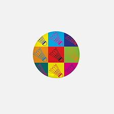Badminton Pop Art Mini Button