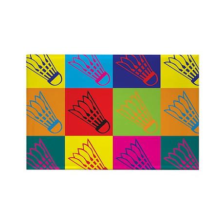 Badminton Pop Art Rectangle Magnet (100 pack)