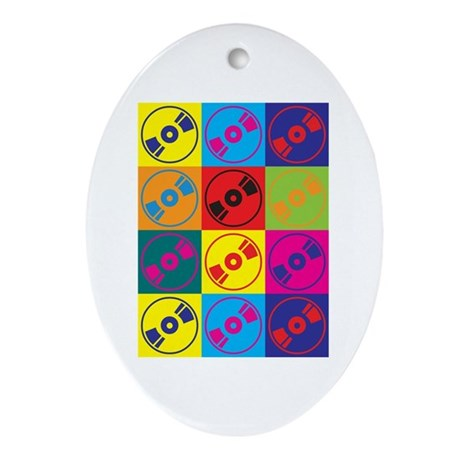 Audio and Video Pop Art Oval Ornament