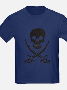 Skull & Swords (Black) Kids Navy T-Shirt