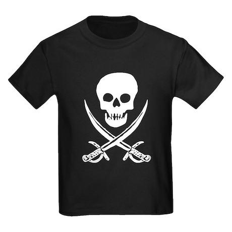 Skull & Swords (White) Kids Dark T-Shirt