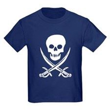Skull & Swords (White) Kids Navy T-Shirt