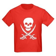 Skull & Swords (White) Kids Red T-Shirt