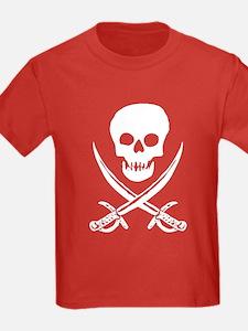 Skull & Swords (White) Kids Red T-Shirt