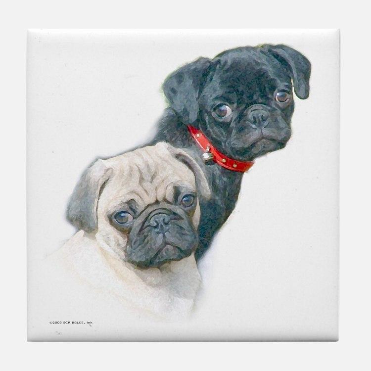 Two Pugs Tile Coaster