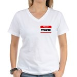 HELLO MY NAME IS STINKER Women's V-Neck T-Shirt