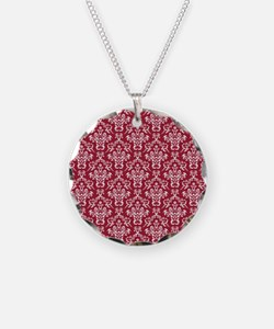 Crimson Red Damask Flourish Necklace