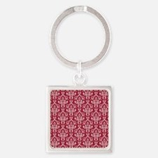 Crimson Red Damask Flourish Patter Square Keychain