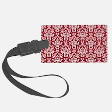 Crimson Red Damask Flourish Patt Luggage Tag