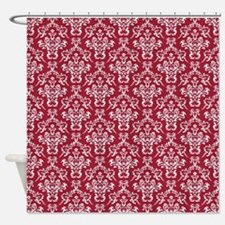 Crimson Red Damask Flourish Pattern Shower Curtain