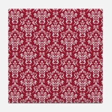 Crimson Red Damask Flourish Pattern Tile Coaster