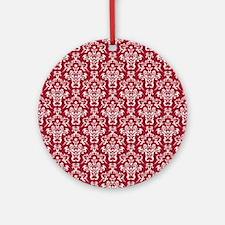 Crimson Red Damask Flourish Pattern Round Ornament