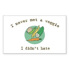 I Hate Veggies Rectangle Decal