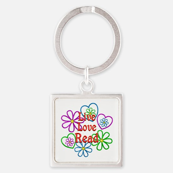Live Love Read Square Keychain