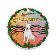 XmasMusic2/Bull Terrier Ornament (Round)