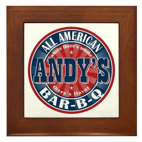 Andy's All American BBQ Framed Tile