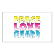 PEACE LOVE GUARD Rectangle Decal
