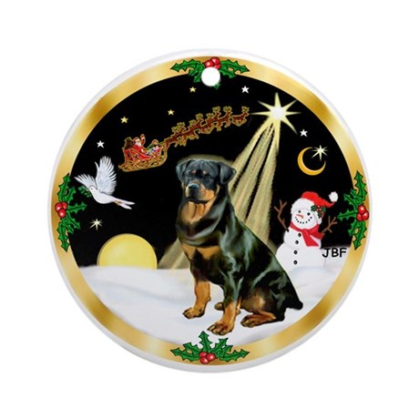 Night Flight/Rottweiler Ornament (Round)
