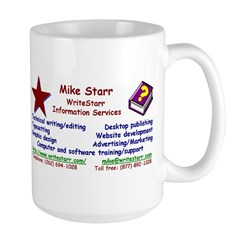 Mike's business card on a large mug