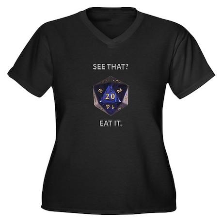 Eat It! Women's Plus Size V-Neck Dark T-Shirt