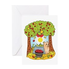 Fall Yorkshire Terrier Greeting Card