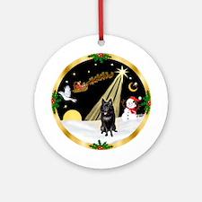 Night Flight/Schipperke Ornament (Round)