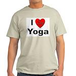 I Love Yoga (Front) Ash Grey T-Shirt